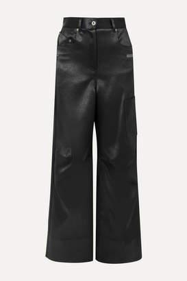 Off-White Printed Duchesse-satin Pants - Black
