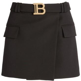 Balmain Belted Wool Mini Skirt
