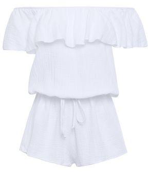 Eberjey Lucia Off-the-shoulder Crinkled-cotton Gauze Playsuit