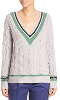 3.1 Phillip Lim Collegiate V-Neck Cabled Sweater
