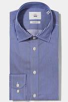 Moss 1851 Tailored Fit Navy Single Cuff Twill Stripe Zero Iron Shirt