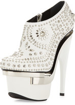 Versace Studded Leather Platform Bootie, White/Silver