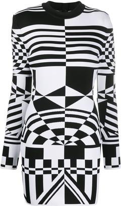 Balmain Geometric-Pattern Short Dress