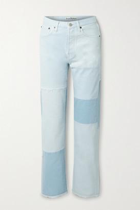 Acne Studios Net Sustain 1996 Frayed Patchwork Organic High-rise Straight-leg Jeans - Light denim