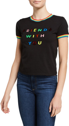 Alice + Olivia Friends With You X Rylyn Embellished Short-Sleeve Ringer Tee