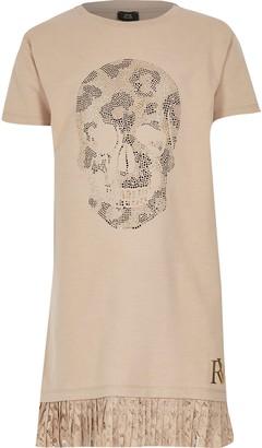 River Island Girls Beige skull embellished T-shirt dress