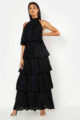 boohoo Frill Layered Halter Neck Maxi Dress