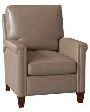 Bradington-Young Kara Leather Manual Recliner Bradington-Young Body Fabric: Saloon Mushroom, Leg Color: Espresso, Cushion Fill: Spring Down, Reclining Type: Power Butt