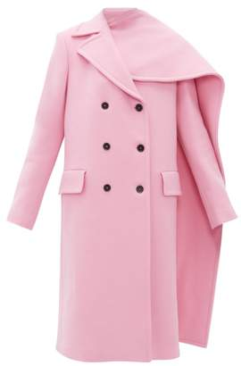 MSGM Double Breasted Asymmetric Cape Wool Blend Coat - Womens - Pink