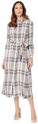 Lauren Ralph Lauren Plaid Long Sleeve Dress (Pink Multi) Women's Clothing