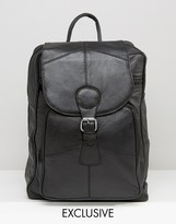 Reclaimed Vintage Leather Backpack In Black