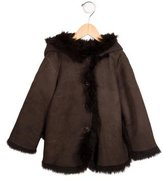 Bonpoint Girls' Hooded Shearling Jacket