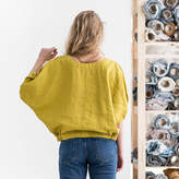 Etsy Washed linen loose puff sleeve top WINTER / greenish mustard linen top