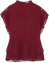 IRO Jala Broderie Anglaise Woven Top - Red