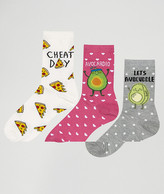 New Look 3 Pack Avocado Pizza Ankle Socks