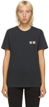 MAISON KITSUNÉ Grey Double Fox Head T-Shirt