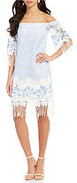 Eva Franco Emery Off-The-Shoulder Fringe Hem Dress