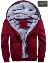 Donalworld Men Zip up Thick Padded Lined Fleece Hoodies Sweatshirt Jacket Overcoat Asian Size 4XL