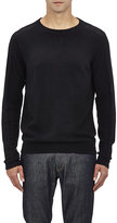 Barneys New York MEN'S MIXED-KNIT SWEATER-BLACK SIZE S