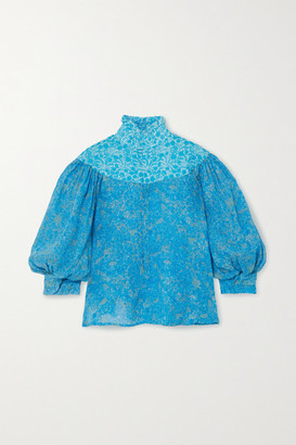 Yvonne S Queen Victoria Ruffled Floral-print Linen Blouse - Blue