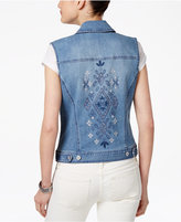 Style&Co. Style & Co Embroidered Denim Vest, Only at Macy's