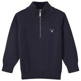 Gant Navy Half Zip Cotton Knit Jumper