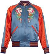 Gucci Flower and fish-appliqué satin-twill bomber jacket