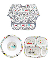Bumkins Urban Bird Sleeved Bib Plate & Bowl Set