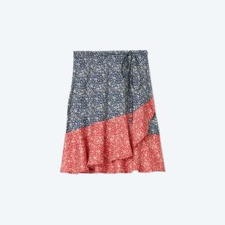 Summersalt The Short Beach to Brunch Wrap Skirt - In Bloom in Deep Sea & Lava