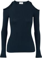 Frame Cold-shoulder Ribbed-knit Top - medium