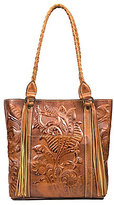 Patricia Nash Burnished Tooled Collection Floral-Embossed Rena Tasseled Tote