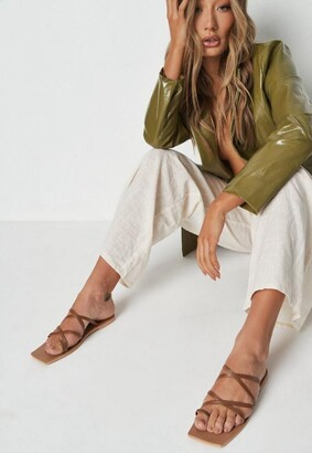 Missguided Tan Strappy Square Toe Sandals