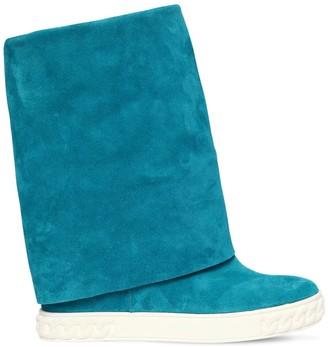 Casadei 80mm Suede Wedge Sneakers