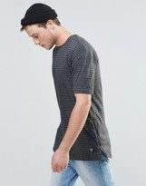 Brave Soul Long Line T-Shirt in Fine Stripe