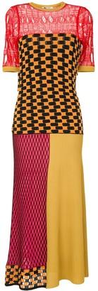 Ports 1961 Multi-Knit Colour-Block Midi Dress