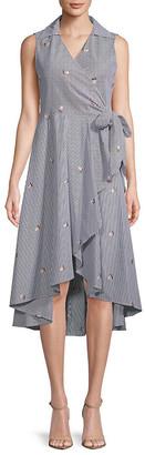 Calvin Klein Striped Wrap Dress