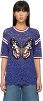 Gucci Blue Lace Butterfly Blouse