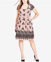 City Chic Trendy Plus Size Flocked A-Line Dress