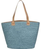 Magid Straw Tote Denim Mix One Size