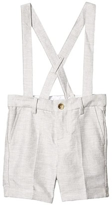 Janie and Jack Linen Suspender Shorts (Toddler/Little Kids/Big Kids) (Grey) Boy's Shorts