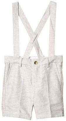 Janie and Jack Linen Suspender Shorts (Toddler/Little Kids/Big Kids) (Grey) Boy's Shorts