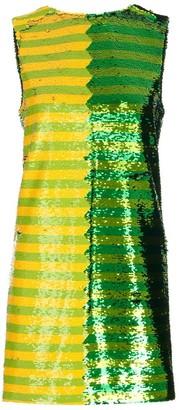 Halpern Sequinned Striped Shift Mini Dress