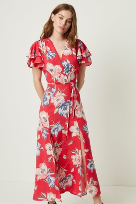 French Connection Cari Crepe Floral Midi Tea Dress