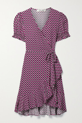 Diane von Furstenberg Emilia Ruffled Printed Crepe Mini Wrap Dress - Bright pink