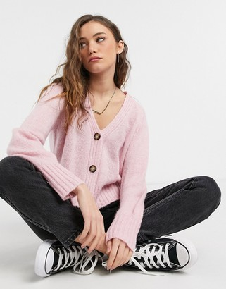 Topshop cropped cardigan in pink