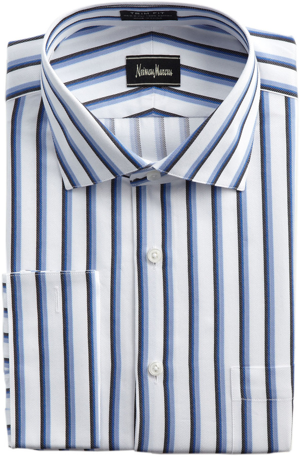 Neiman Marcus Trim-Fit Striped Dress Shirt, Blue