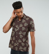 Asos Tall Viscose Shirt With Leaf Print And Revere Collar