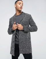 Selected Wool Overcoat with Flecked Detail