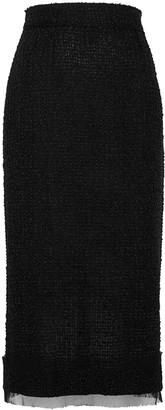 Dolce & Gabbana Black boucle-knit pencil skirt