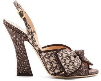 Fendi Logo-jacquard Bow-tie Slingback Sandals - Black Multi